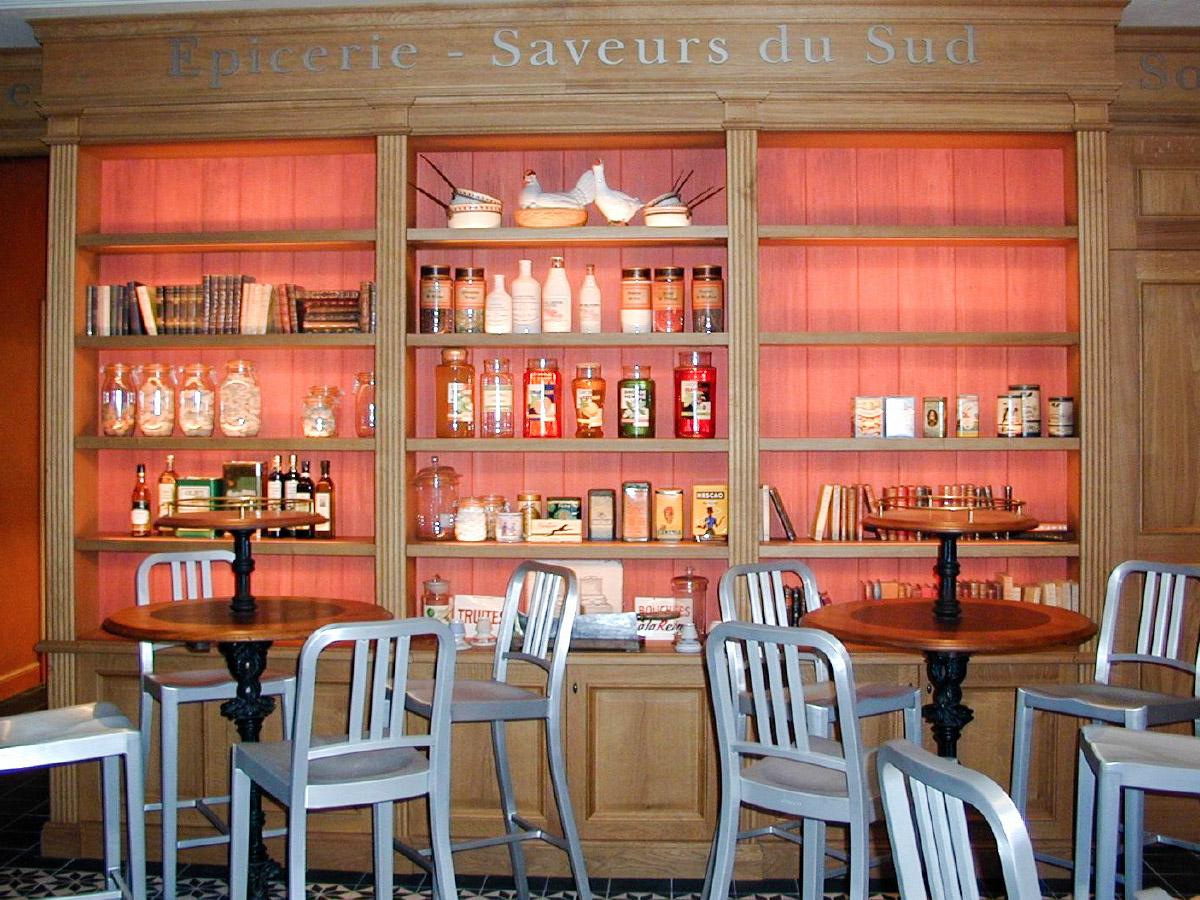 Bookcase, illuminated shelves and french oak doorframe