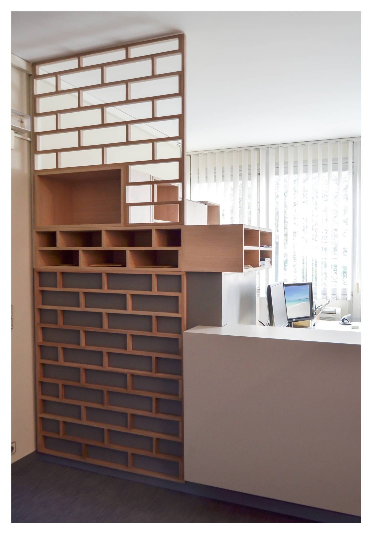 "Communicative furniture across offices, like ""letterboxes"", reception desk"