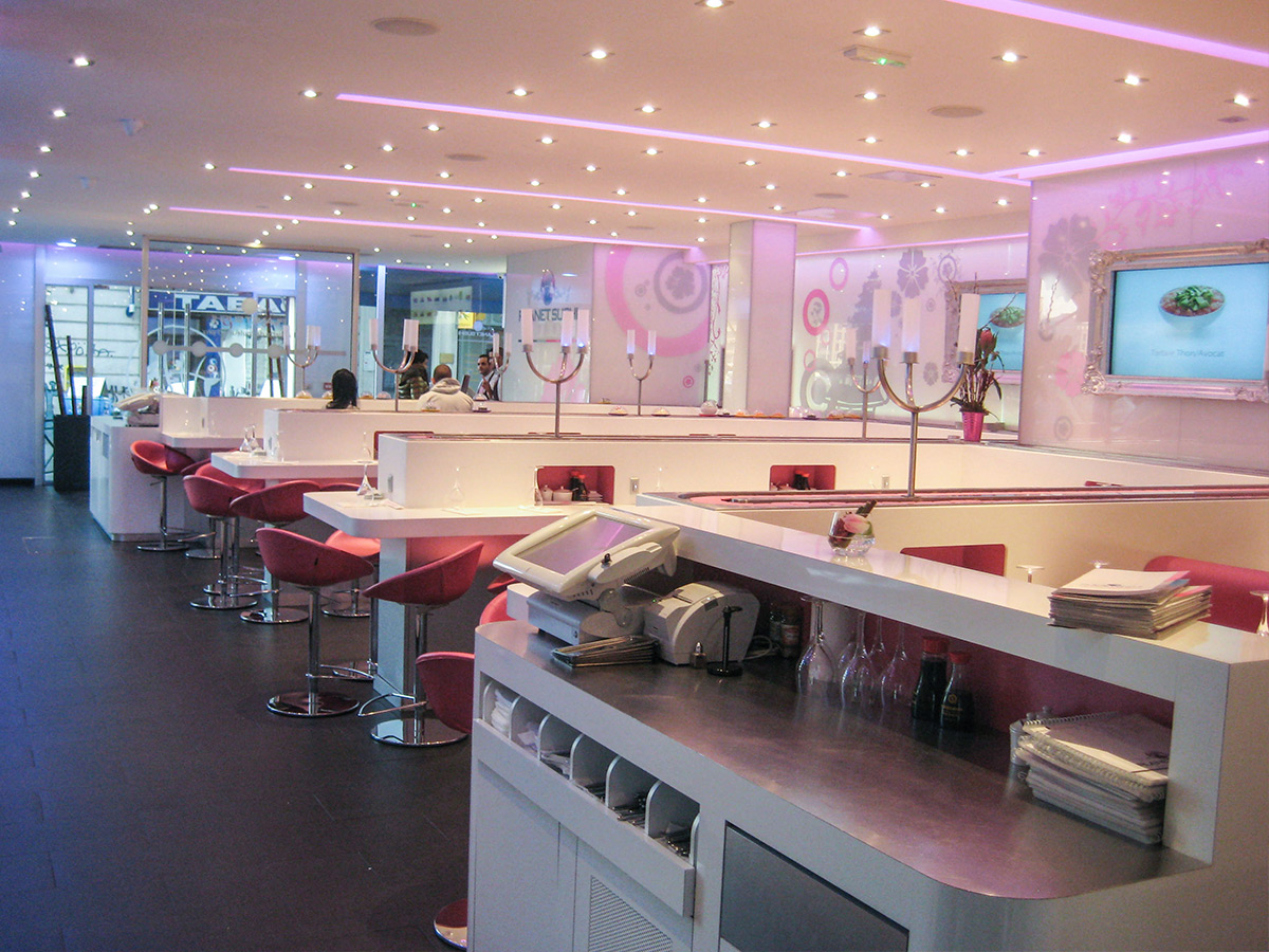 Chain restaurants, arrangement, Corian stratified coating